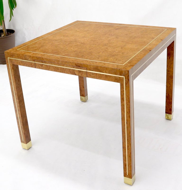 Burl Wood Brass Inlay Game Dining Table by Mastercraft 3
