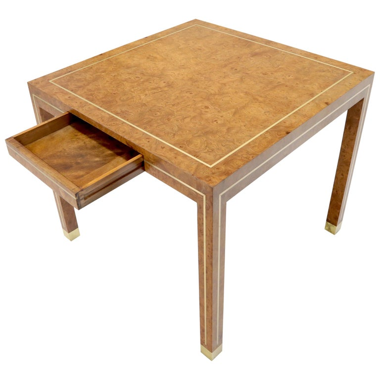 Burl Wood Brass Inlay Game Dining Table by Mastercraft