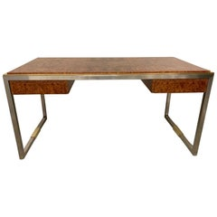 Rare Burl Wood Desk by Guy Lefèvre for Maison Jansen, France ca. 1970's