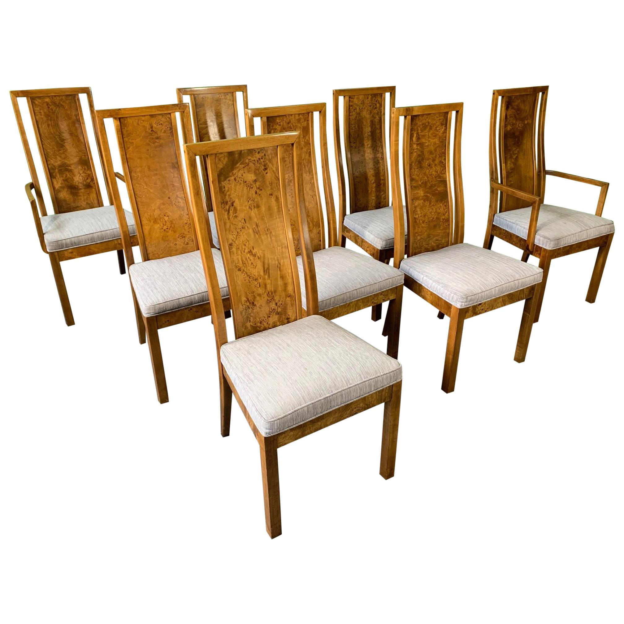 burl wood dining chairs by founders furniture in the manner of milo rh 1stdibs com Burlwood Dining Chairs Burlwood Art Deco Chair