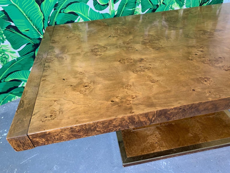 Hollywood Regency Burl Wood Dining Table by Founders Furniture in the Manner of Milo Baughman For Sale