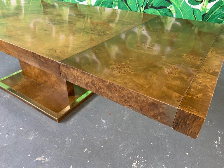 American Burl Wood Dining Table by Founders Furniture in the Manner of Milo Baughman For Sale