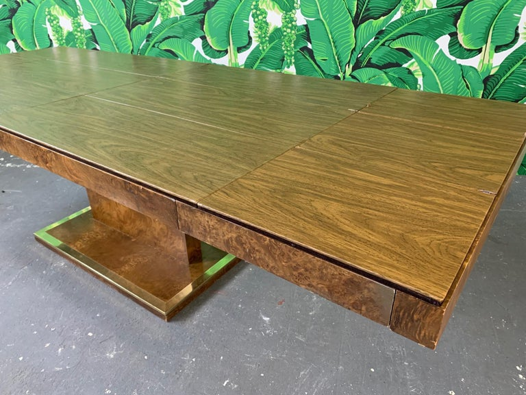 Burl Wood Dining Table by Founders Furniture in the Manner of Milo Baughman For Sale 1