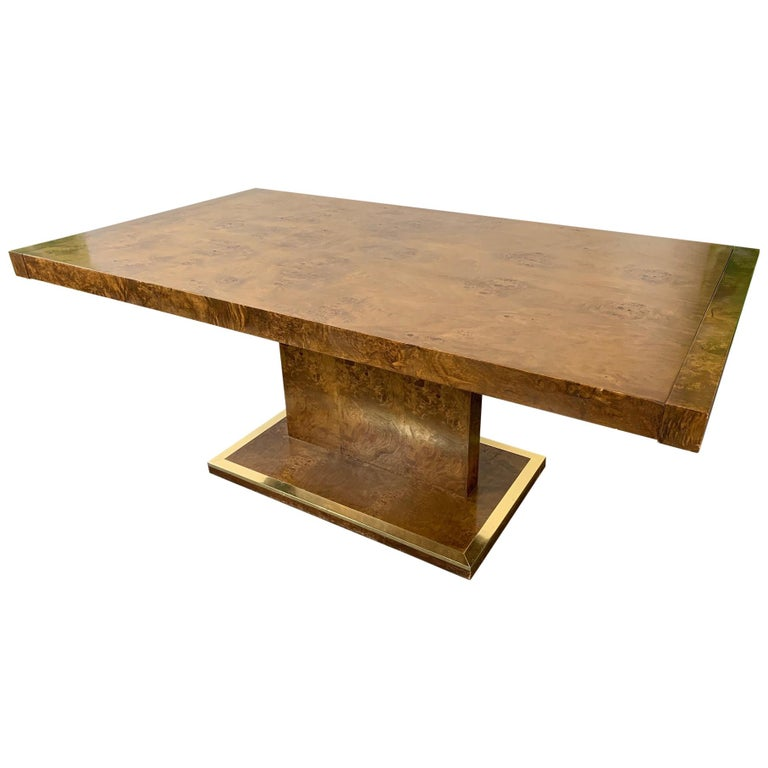 Burl Wood Dining Table by Founders Furniture in the Manner of Milo Baughman For Sale