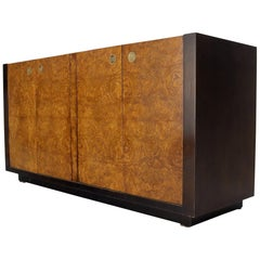 Burl Wood Low Medium Length 4 Doors Credenza