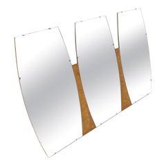 Burl Wood Frame Triple Boat Shape Wall Mirror