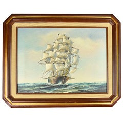 Burl Wood Framed Nautical Oil on Canvas Painting of a Ship at Sea