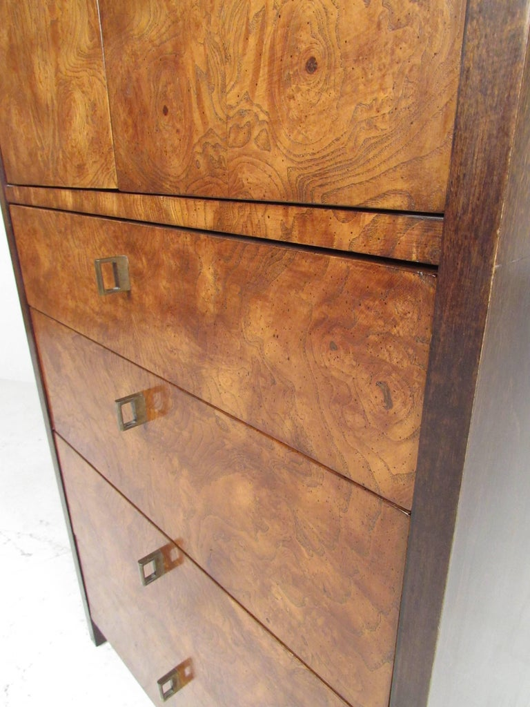 Mid-Century Modern Burl Wood Linen Cabinet by Century Furniture For Sale