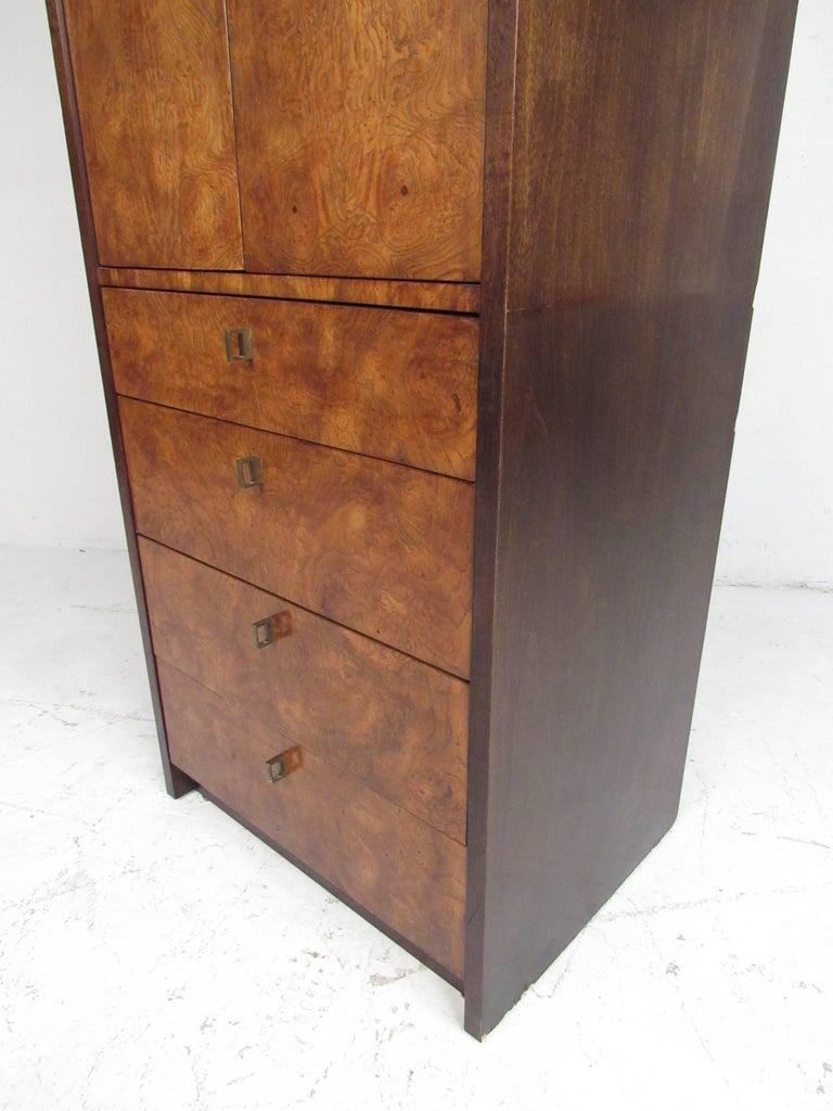 North American Burl Wood Linen Cabinet by Century Furniture For Sale