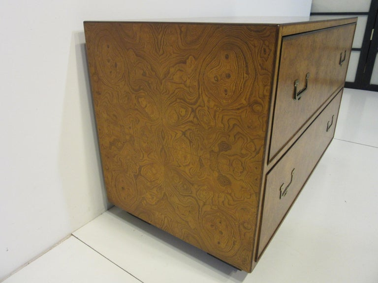 Burl Wood Low Two-Drawer Chest by John Widdicomb For Sale 4