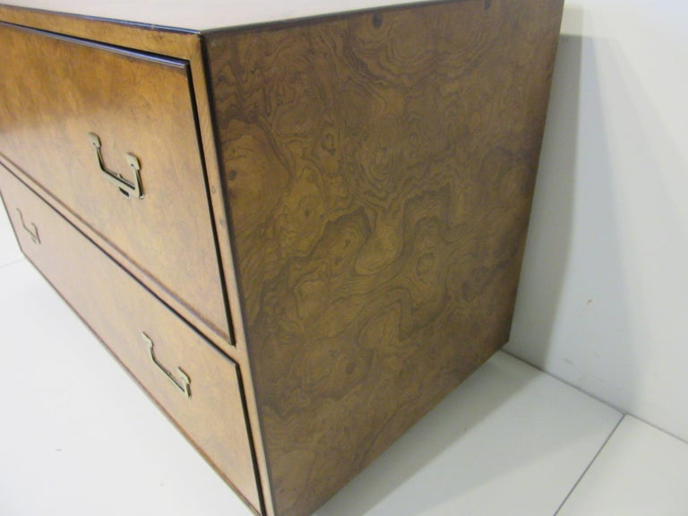 Burl Wood Low Two-Drawer Chest by John Widdicomb For Sale 5