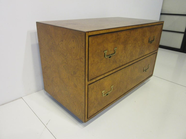 Mid-Century Modern Burl Wood Low Two-Drawer Chest by John Widdicomb For Sale
