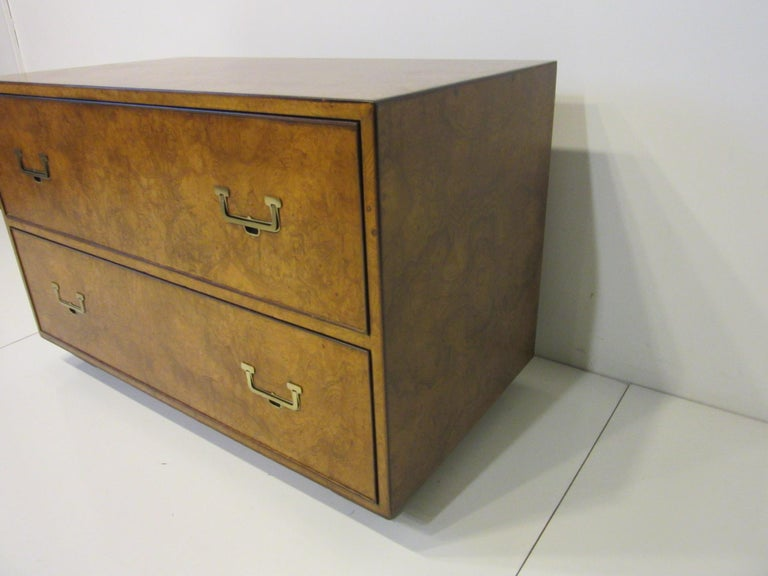 American Burl Wood Low Two-Drawer Chest by John Widdicomb For Sale