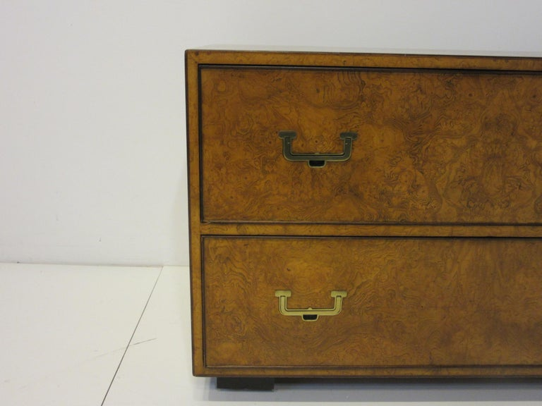 Burl Wood Low Two-Drawer Chest by John Widdicomb In Good Condition For Sale In Cincinnati, OH