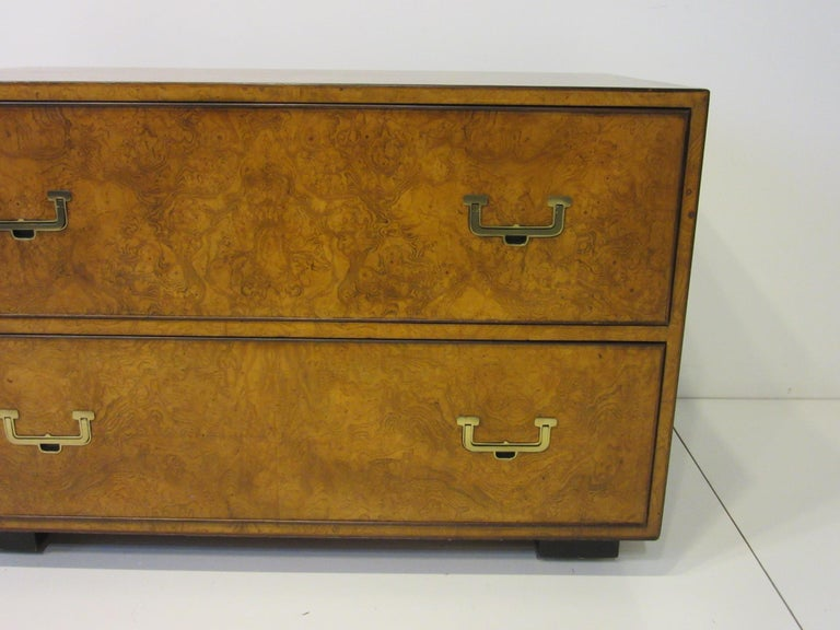 20th Century Burl Wood Low Two-Drawer Chest by John Widdicomb For Sale