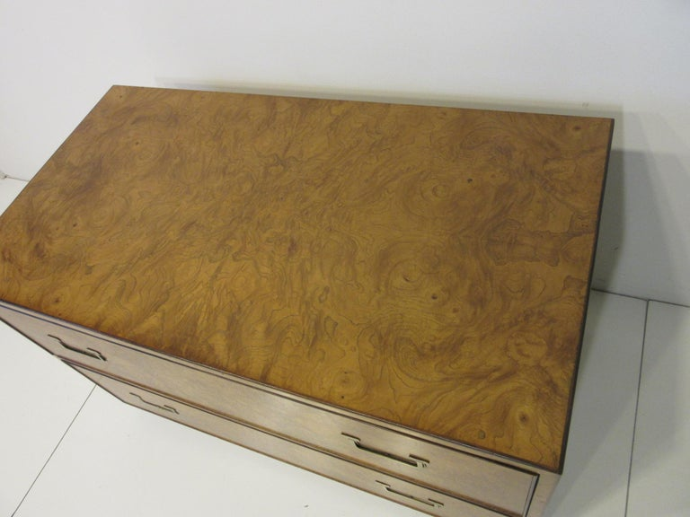 Burl Wood Low Two-Drawer Chest by John Widdicomb For Sale 2
