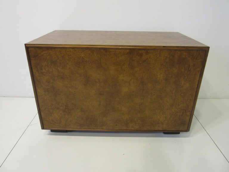 Burl Wood Low Two-Drawer Chest by John Widdicomb For Sale 3