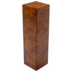 Burl Wood Mid-Century Modern Square Pedestal Stand