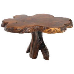 Burl Wood Natural Free Edge Slab Top Gueridon Center Table