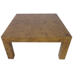 Burl Wood Small Scale Coffee Table in the style of Milo Baughman