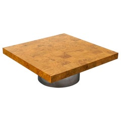 Burl Wood Square Coffee Table with Round Chrome Pedestal Base by Milo Baughman