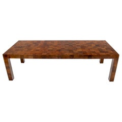 Burl Wood Square Patches Rectangle Dining Table with Two Extension Boards