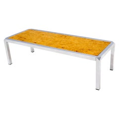 Burl Wood Top Chrome Base and Trim Rectangular Coffee Table
