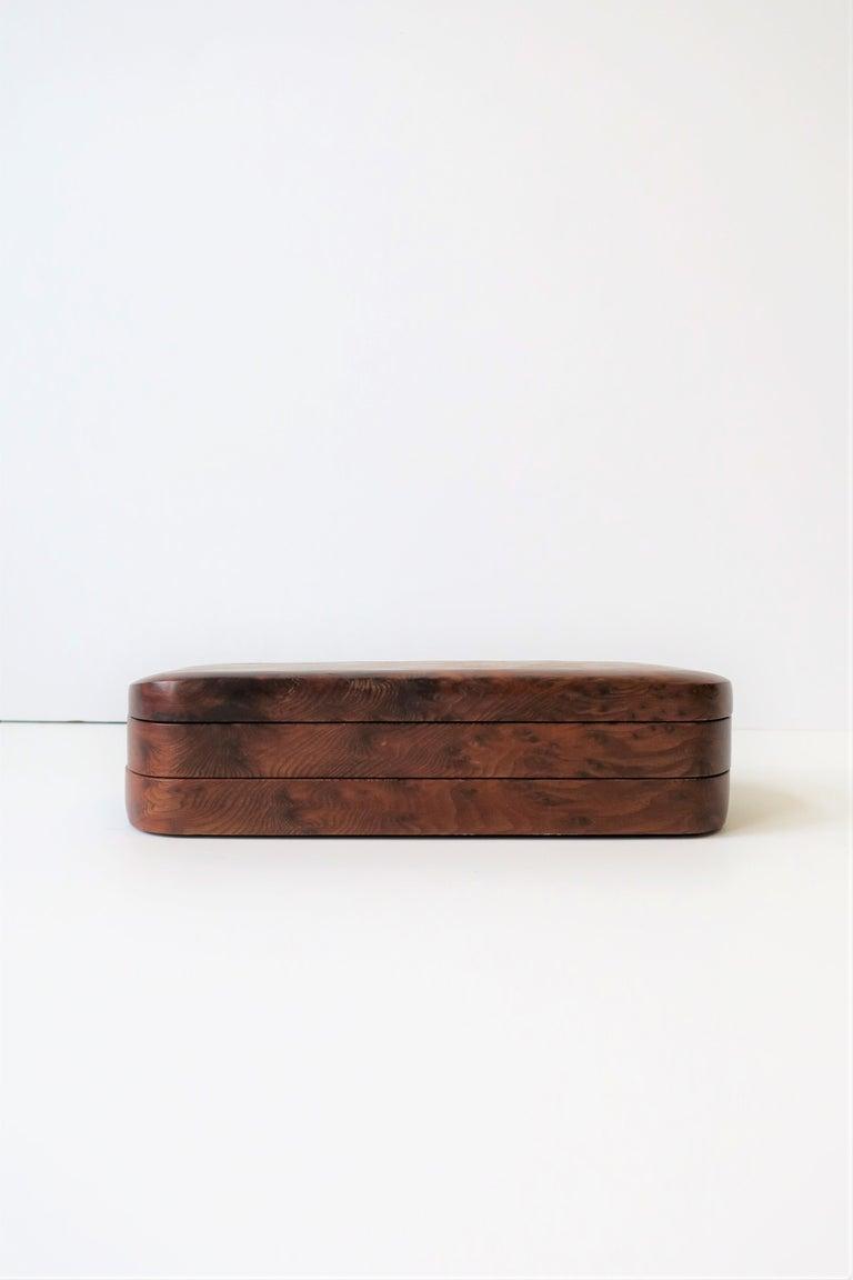 Minimalist Burl Wood Vanity Jewelry Box For Sale