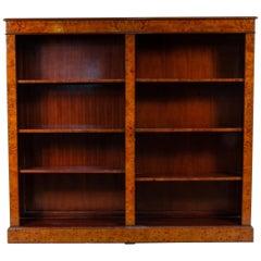 Burl Yew Wood Open Three Shelf Bookcase