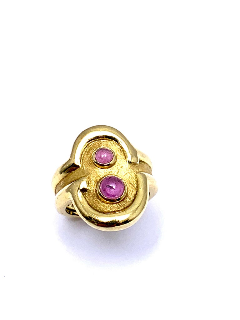 Burle Marx 0.48 Carat Cabochon Pink Tourmaline and 18 Karat Yellow Gold Ring For Sale 5