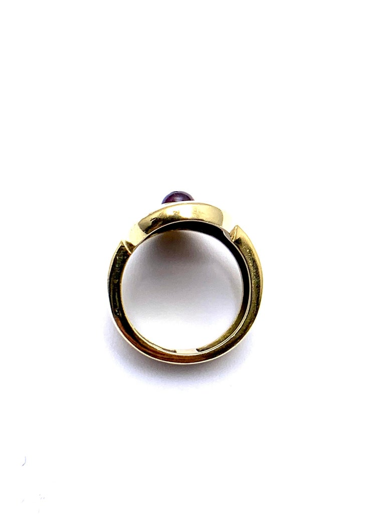 Burle Marx 0.48 Carat Cabochon Pink Tourmaline and 18 Karat Yellow Gold Ring For Sale 3