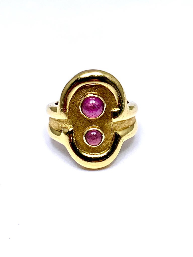 Burle Marx 0.48 Carat Cabochon Pink Tourmaline and 18 Karat Yellow Gold Ring For Sale 4
