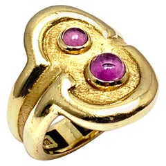 Burle Marx 0.48 Carat Cabochon Pink Tourmaline and 18 Karat Yellow Gold Ring