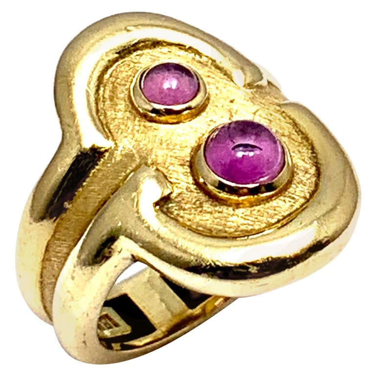 Burle Marx 0.48 Carat Cabochon Pink Tourmaline and 18 Karat Yellow Gold Ring For Sale