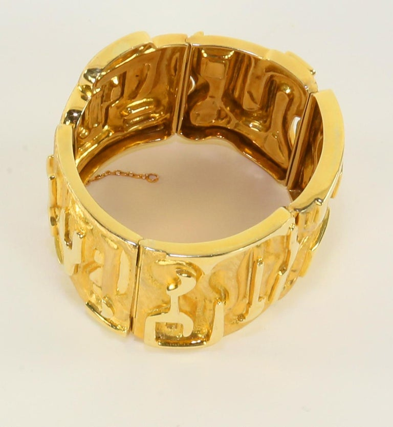 Modernist Burle Marx 18 Karat Gold Cuff Bracelet Estate Fine Jewelry For Sale