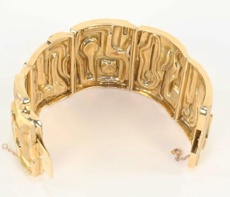Women's Burle Marx 18 Karat Gold Cuff Bracelet Estate Fine Jewelry For Sale