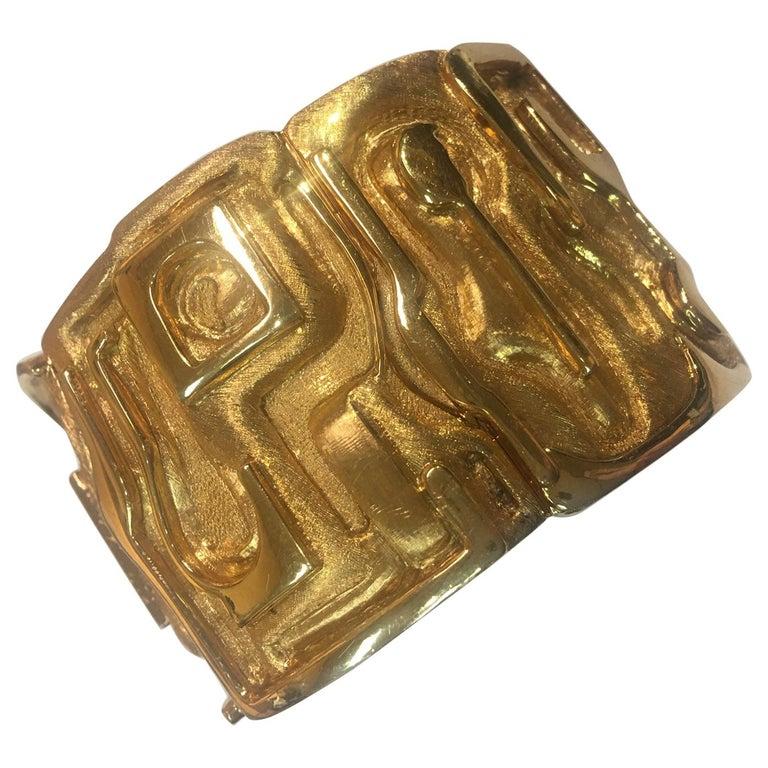 Burle Marx 18 Karat Gold Cuff Bracelet Estate Fine Jewelry For Sale