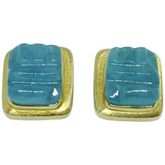 Burle Marx 18 Karat Gold Free Form 'Forma Livre' Aquamarine Earrings