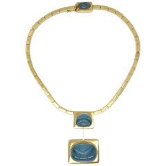 Burle Marx 18 Karat Gold Free Form 'Forma Livre' Aquamarine Necklace
