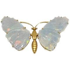 Burle Marx 18 Karat Gold Opal Butterfly Brooch