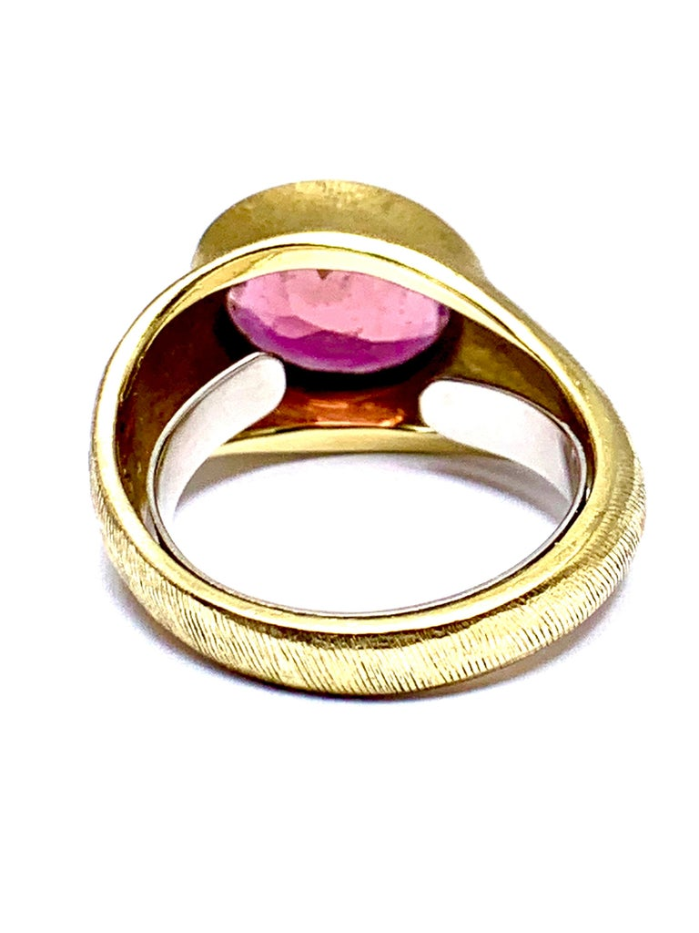 Burle Marx 3.57 Carat Faceted Oval Pink Tourmaline and 18 Karat Yellow Gold Ring For Sale 1