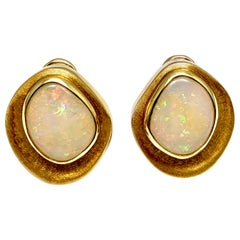 Burle Marx 5.97 Carat Cabochon White Opal and 18 Karat Yellow Gold Earrings