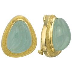 Burle Marx Aquamarine 18 Karat Yellow Gold Earrings