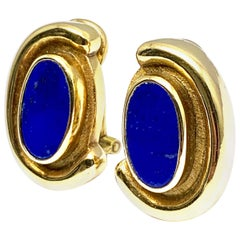Burle Marx Bezel Set Lapis Lazuli 18 Karat Yellow Gold Clip Earrings