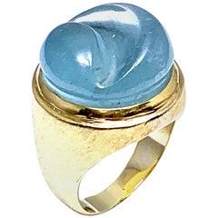 Burle Marx Forma Livre 12.60 Carat Custom Cut Aquamarine and Yellow Gold Ring