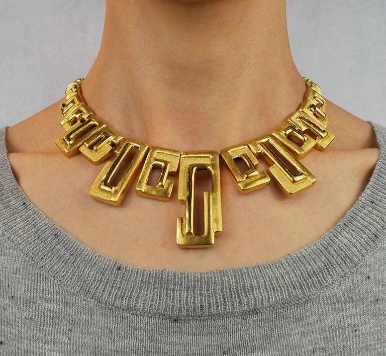 Burle Marx Modernist 18 Karat Gold Necklace Bracelet Earrings Set, circa 1970 For Sale 4