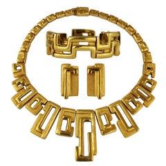 Burle Marx Modernist 18 Karat Gold Necklace Bracelet Earrings Set, circa 1970