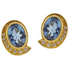 Burle Marx Oval Aquamarine and Diamond Earrings