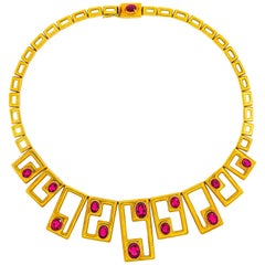 Burle Marx Rubellite Gold Necklace