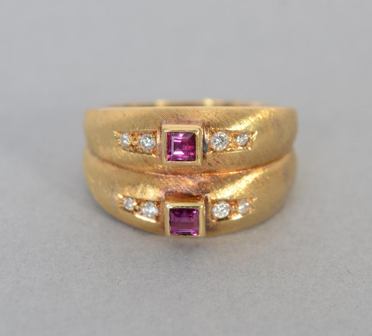 Double band ring by Burle Marx with a square tourmaline on each flanked by four diamonds. The stones are the fine quality for which Burle Marx is known. The gold has the fine brushed finish he often used.    The ring is size 8 and can be sized up or